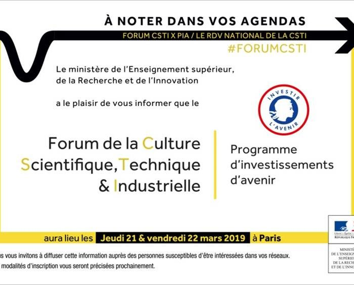 Save the Date : Forum National de la CSTI 2019